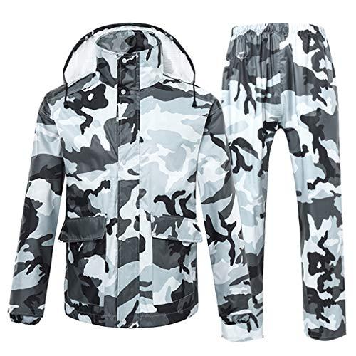 Camouflage Regenanzug mit Kapuze Regenmantel für Männer Regenbekleidung Wasserdichte Regenjacke und Regen Hose Set Motorrad Reiten Outdoor-Arbeit Golf Angeln