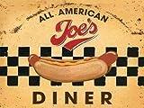 Alle Amerikanisch Joe´s Abendessen. Hot Hund, straßenrand cafe, 50er jahre, 60er Dinner essen, zeichen für küche, haus, heim, Cafe, kaffee laden, pub, restaurant. Metall/Stahl Wandschild - 15 x 20 cm