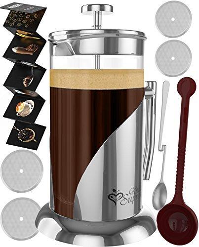 French Press Coffee & Tea Maker Komplett Bundle | 34oz | Best Kaffeemaschine Topf mit Edelstahl & doppeltem Deutsche Glas