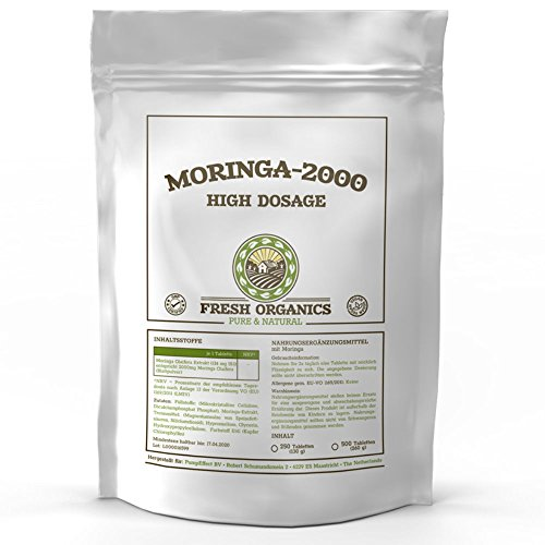 1000 Tabletten (vegan) MORINGA-2000 | Hochdosiertes Moringa Oleifera Extrakt | Reich an Vitalstoffen | Enthält Aminosäuren und Omega Fettsäuren | Mit Vitaminen und Mineralien
