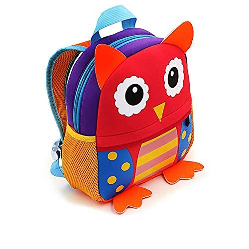 Zainetto bambina bambino asilo, aobetak zaino scuola piccolo con disegno animale, grande regalo & i regali sacchetto per bambini bimba bambino 2-7 anni- gufo rosa