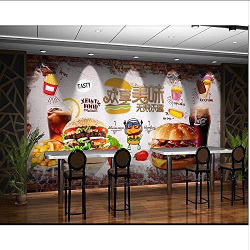 Lifme Burger-Tapete-Schnellimbissshop Der Mode Der Handgemalten Backsteinmauer Köstlicher, Der Hintergrundwandtapete Aufbereitet-120X100Cm