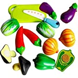stuff jam Plastic Realistic Sliceable Vegetables Cutting Play Toy Set with Velcro (Multicolour, 228C2)