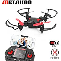 Metakoo Mini Drone avec Caméra hd vidéo en Direct Wifi, Pocket Helicoptère Télécommandé, Pliable Quadcopter avec Altitude Hold, Headless, 3D Flips, LED, Durée de vol 7 Minutes
