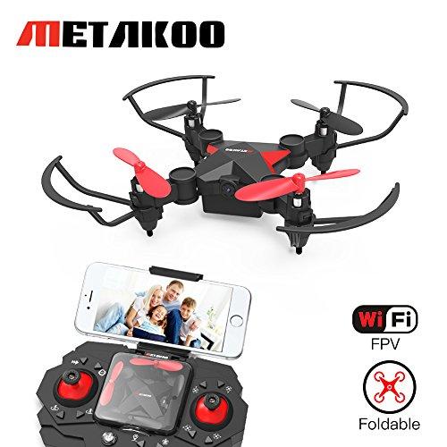 Metakoo Mini Drone con Telecamera Live Video WiFi FPV, M2 Quadricottero Pocket Pieghevole Nano RC Droni per principianti con Altitude Hold, 3D Flips, Headless Mode, Funzionamento Facile Sicuro per i Bambini Regalo
