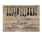 Wandschild Massiv Holz Die Küche ist Das Herz des Hauses Bauholz Schild Dekoschild Hängeschild Holzschild 28x40cm