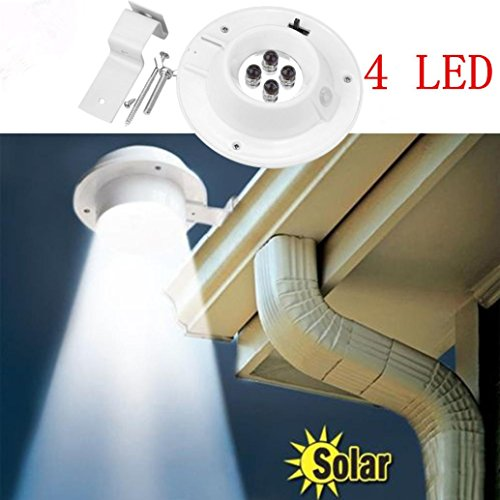 gaddrt Neue 4 LED Solarbetriebene Gutter Licht Outdoor/Garten/Hof/Wand/Zaun/Pathway Lampe