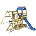 WICKEY Spielturm Little Robin Kletterturm mit Schaukel und Rutsche Holzdach Sandkasten, blaue Rutsche 7
