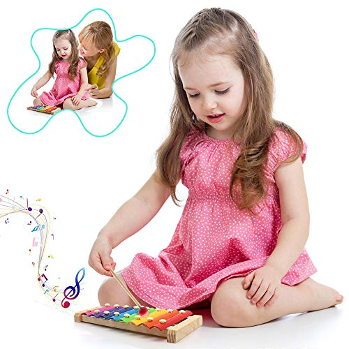 Xylophone for Kids, Gunai Wooden Toy Children's Musical Glockenspiel Percussion Musical Instrument, Best Holiday/Birthday DIY Gift for Kids 1-6 Year Old Girl, Boys