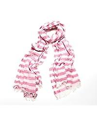Pink & White Stripe Crinkle Fringe Scarf