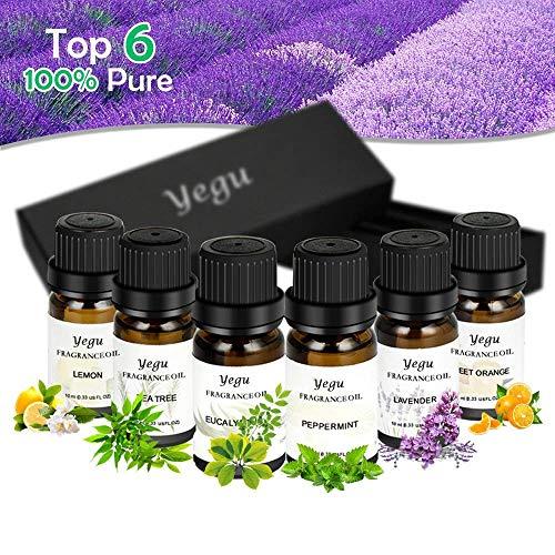 Ätherische Öle, YEGU 100% Reine Natur Duftöle Aromatherapie Öl Geschenk Set 6x10ml Ätherisches Öl (Lavendel, Orange, Minze, Eukalyptus, Teebaum, Zitrone) Raumdüfte für Aromatherapie/Diffuser -