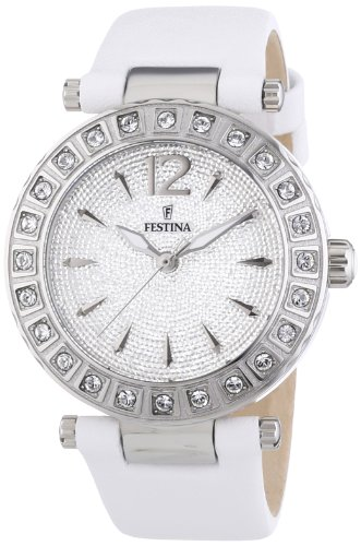 Festina Women's Quartz Watch with Silver Dial Analogue Display and White Leather Strap F16645/3