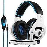 Sades Gaming Headset Kopfhörer Lautstärkeregler für PC Xbox ONE PS4 weiß