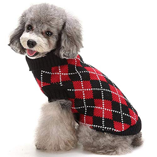 Red Classic Beanie (likeitwell Pet Dog Sweater, Gerippte Strickpullover European Classic Diamond Pattern Turtleneck Pet Strick Bekleidung für Shih TZU, Yorkshire Terriers, Papillon, Girl Teddy, Pug, Chihuahua)