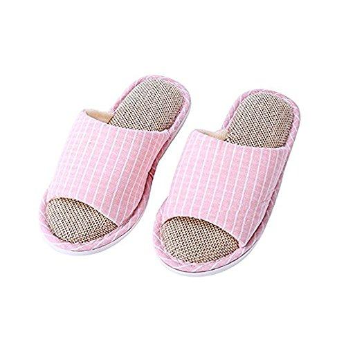 GR Pantuflas de Lino y Algodón, Pantuflas de Hombre y de Mujer, Pantuflas de Lino no Deslizante, Sandalias de Hogar (Color : Pink/Blue, Size : 38/39)