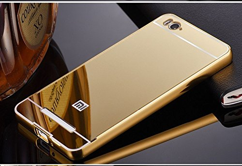 JMV Xiaomi Mi4i Case, JMV Luxury Metal Bumper Acrylic Mirror Back Cover Case For Xiaomi Mi4i - Gold Plated