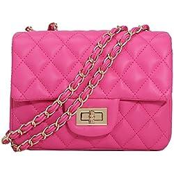 TOYU S Lady Kleine Gold Kette Gesteppte Umhängetasche Mini Kreuz Körper Frauen Handtasche Clutch Classic Abendtasche - Rose (20*15*7cm)