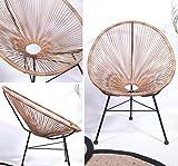 Retro Lounge Sessel Acapulco Mexiko Design Indoor & Outdoor Rahmen & Füße Pulverbeschichtet; Farbe Natur Braun - 6