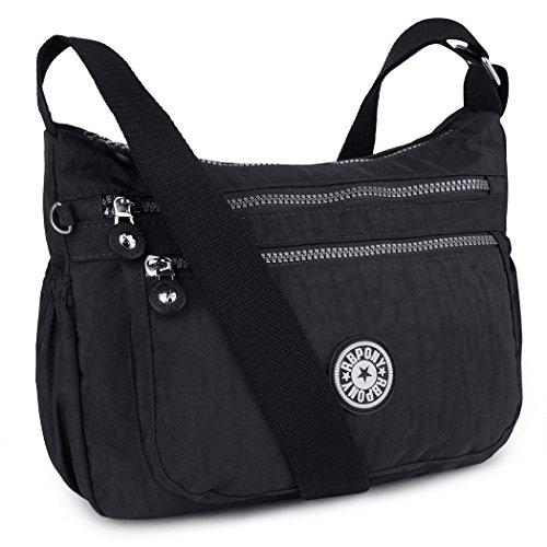 ABLE Wasserdichte Leichte Nylon Crossbody Messenger Shoppertasche Umhängetasche Crossover Bag Leichte Schultertasche (0-Blau) Schwarz