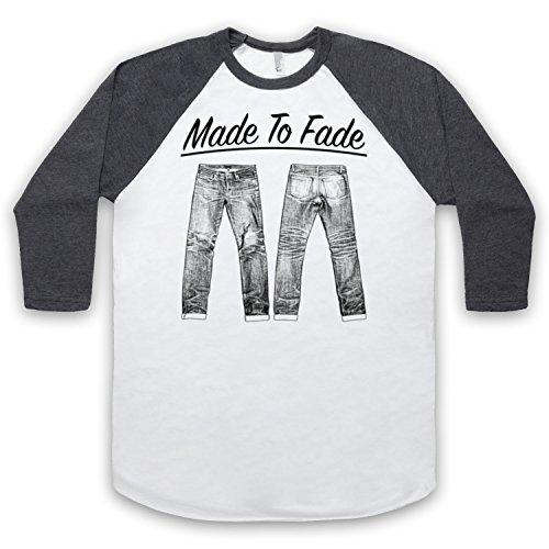 Made To Fade Denim Jeans 3/4 Hulse Retro Baseball T-Shirt Weis & Dunkelgrau