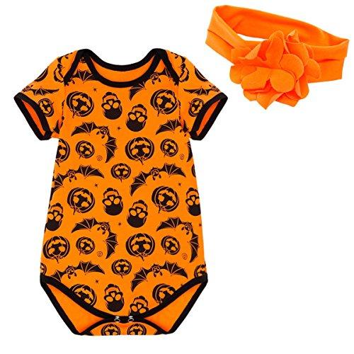 YiZYiF Baby Mädchen Strampler Overall Kurzarm-Body Halloween Kostüm Kürbis Kleidung Bekleidungsset mit Stirnband Orange + Schwarz 6-9 (Baby Junge Kostüme 6 Monate 3 Halloween)