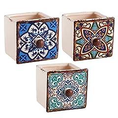 Idea Regalo - Homes on Trend Cassetto in ceramica per piante succulente in stile marocchino vintage in ceramica