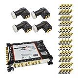 PremiumX PXMS-17/16 Multischalter mit Netzteil Multiswitch Sat Verteiler HDTV 3D + 4x PremiumX PXQ-SE Quattro LNB 0,1 dB 4K + 48x F-Stecker vergoldet GRATIS dazu