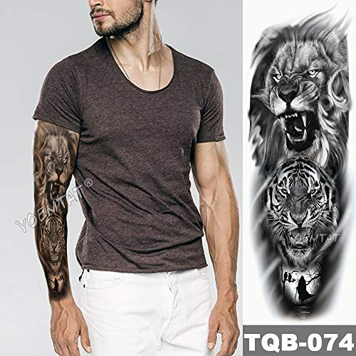 rmel Tattoo Lion Crown King Rose Wasserdicht Temporäre Tätowierung Aufkleber Wild Wolf Tiger Männer Voller Schädel Totem ()