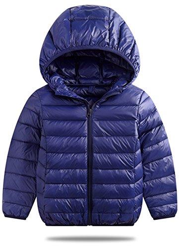 VEVESMUNDO® Jungen Mädchen Leichte Winterjacke Daunenjacken Steppjacke Daunenmantel Schneeanzüge mit Kapuze Kinder Baby (Dunkelblau, Etikett 90CM für Körpergröße 70-79CM)
