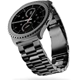 Samsung Gear s2 classic Pulseras,Sundaree Metal Acero Inoxidable Reemplazo Correas Banda Pulseras de Repuesto Correa de Reloj Inteligente Smartwatch para Samsung Gear S2 Classic(S2, Negro Acero)
