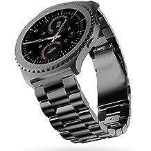 Correa Gear s2 classic,Sundaree Metal Acero Inoxidable Reemplazo Correas Banda Pulseras de Repuesto Correa de Reloj Inteligente Smartwatch para Samsung Gear S2 Classic(S2, Negro Acero)