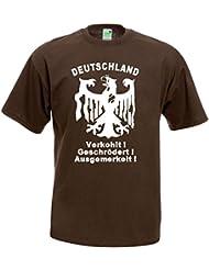 PROTEST T-Shirt | Verkohlt - Geschrödert - Ausgemerkelt | Brustdruck | weißer Flock