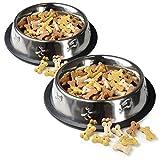 Futter-Napf für Hunde und Katzen (500ml) aus Edelstahl, 2 Stück im Set,...
