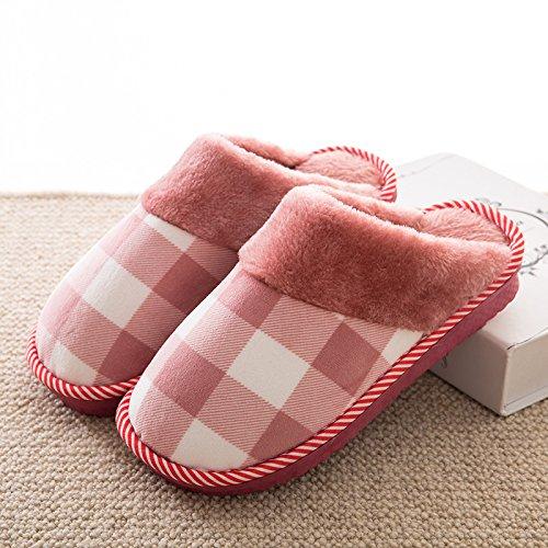YMFIE Gli uomini e le donne inverno caldo pavimento coppie antislittamento cotone felpato pantofole scarpe G