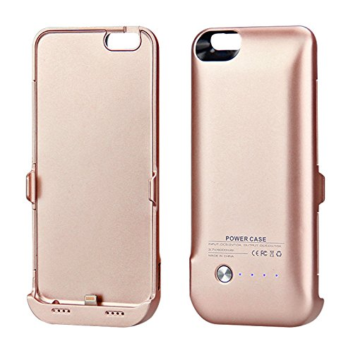 iPhone 6 / iPhone 6s 4.7 inch Akku Hülle LifeePro 6000mAh Ultra Dünn Externer Akku Case Aufladbar Batterie Ladehülle Integrierten Ersatzakku Ladegerät Power Bank Backup Extra Pack Schutzhülle für iPho Rose Gold