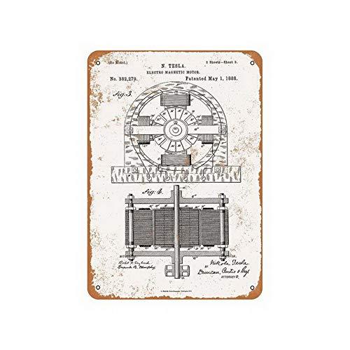 ABLERTRADE 1888 Nicola Tesla Placa Metal Pared Motor
