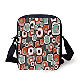 KLYDH Country,Funky Square Shaped Lava Flowers with Abstract Inner Forms Print Decorative,Mint Baby Pink Orange Grey Print Kids Crossbody Messenger Bag Purse