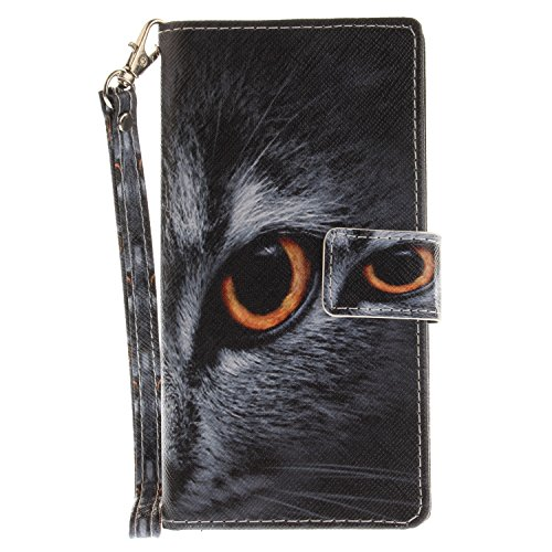ISAKEN Sony Xperia XZ Hülle, PU Leder Flip Cover Brieftasche Geldbörse Wallet Case Ledertasche Handyhülle Tasche Schutzhülle mit Handschlaufe Strap Standfunktion für Sony Xperia XZ - Katze Augen