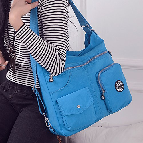 Outreo Kuriertasche Damen Schultertasche Umhängetasche Handtasche Designer Strandtasche Wasserdichte Messenger Bag Rucksäcke Sporttasche Taschen für Mädchen Reisetasche Nylon Blau Two