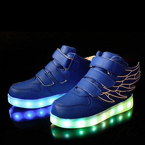 DoGeek 7 Farbe USB Aufladen LED Schuhe Leuchtend Sportschuhe Led Sneaker Turnschuhe Jungen Blau