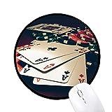 beatChong Card Poker Chips Glücksspiel Foto Runde Griffige Mousepads Schwarz genähte Kanten Spiel Büro-Geschenk