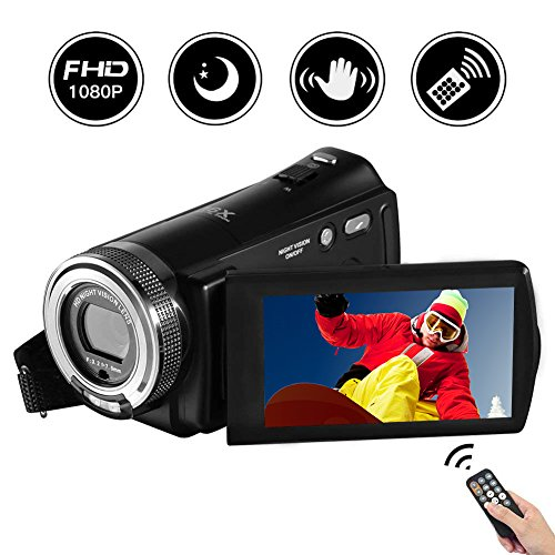 """Videokamera Camcorder Full HD 1080P 20.0MP Digitalkamera 3.0\""""Drehbarer LCD-Bildschirm Nachtsicht Vlogging Kamera 16X Digitalzoom mit Fernbedienung"""