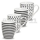 matches21 Becher Tassen Kaffeetassen Kaffeebecher Streifen & Punkte schwarz/weiß Keramik 4er Set je 10 cm 300 ml