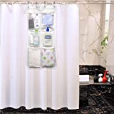 Shower Curtain Bathroom Organizer - 6 Pockets with 4 Strong Rings - Quick Dry Hang Tidy Mesh Net Bag - Bathroom Caddy and Storage for Baby Toy Shampoo and Bathroom Accessories