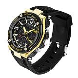 SANDA Teen Jungen und Mädchen Sport-Uhr,Dual-Display 30M Wasserdicht Multifunktion Elektronisch Uhren Armbanduhr(Gelb)
