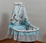Velinda Bettwäsche-Set für Moseskorb/Babykorb/Stubenwagen mit Baumwolle-Betthimmel (Muster: Bär_Grau)