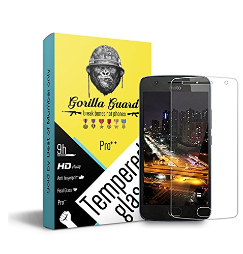 Gorilla guard's Pro series tempered glass for Moto G5s+ Plus with HD+ ultra clear edge to edge 9H hardness, UV protect & anti-smudge technology TEMPERED glass phone protector