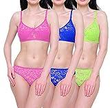 #3: Baremoda Women's Lingerie Full net Bra Panty Set Pack of 3