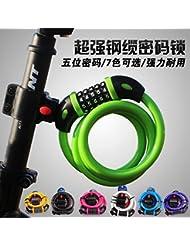 humefor TY566Universal combinación bloqueo de seguridad 5dígitos para bicicleta para enrollar cable lock color al azar