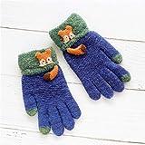 Handschuh Handschuhe Fäustling Baby Handschuhe Herbst und Winter warme fünf Finger süße dünne Abschnitt gebürstet Jungen und Mädchen Baby Kinder Kinder Handschuhe Winter, 15 * 9cm / empfohlen 3-6 Jahre alt, C5601 Fuchs - Navy